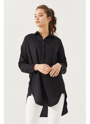 Reyon REYON Kadın Yanları Düğmeli Oversize Gömlek Siyah Siyah